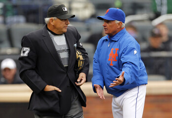 Mets manager Collins argues with umpire Vanover after being ejected against Nationals during MLB National League baseball game in New York