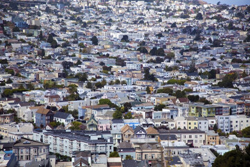 Noe Valley district neighborhood in San Francisco seen from Bernal Hill.