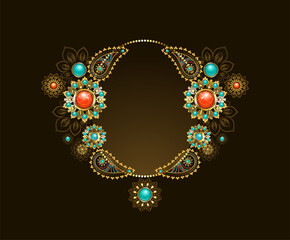 Frame with ethnic gold jewelry