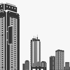 Building and Skyscrapers Silhouette Vector Illustration