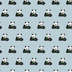 Cartoon fun vector illustration seamless animals pattern with baby panda bamboo background. Black and white bear.