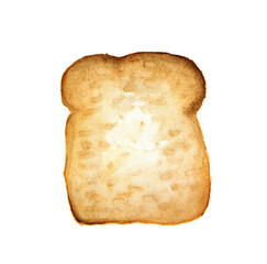 slice of bread on a white background. Watercolor illustration made by hand. Isolated.