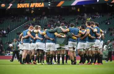 South Africa team huddle before the match