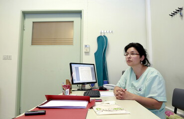 Dentist Niki Diamanti is seen in her office in the city of Ioannina