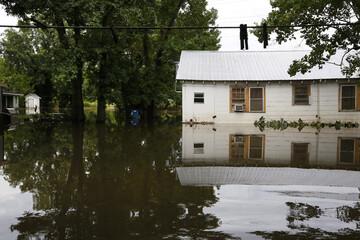 A flood damaged neighborhood is seen in Sorrento
