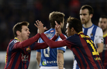 Barcelona's Messi and Neymar celebrate a goal during their Spanish first division soccer match against Real Sociedad at Anoeta stadium in San Sebastian