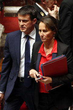French Prime Minister Valls and Ecology, Sustainable Development and Energy Minister Royal arrive to attend a session to present the 50 billion euro savings plan ahead of a vote at the national assembly in Paris
