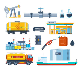 Set of oil industry: plant, equipment for production, transportation, storage.