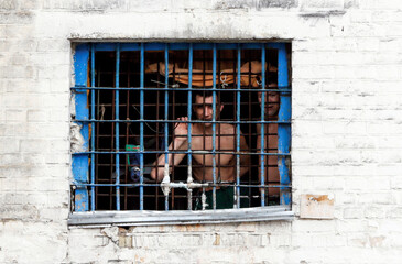 Detainees look out from prison cell at compound of Lukyanivska detention centre in Kiev