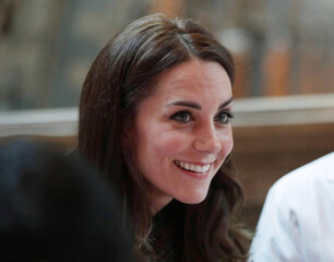 Britain's Catherine, Duchess of Cambridge attends a children's tea party to celebrate Dippy the Diplodocus's time in Hintze Hall, at the Natural History Museum in London