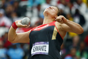 Germany's Christina Schwanitz competes in the women's shot put final at London 2012 Olympic Games