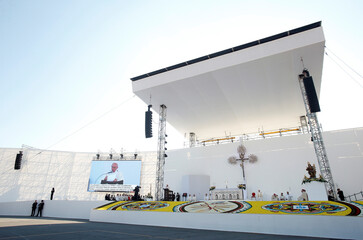 Pope Francis leads the Eucharistic Concelebration during his pastoral visit in Genoa