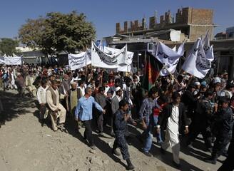 Afghan men attend an anti-Pakistan demonstration in Kabul