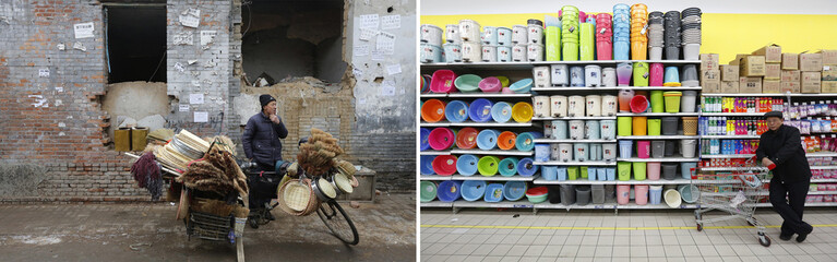 A combination photograph shows a vendor selling wooden baskets and brooms on a market street at an half demolished old residential site and a man stands next to plastic goods at a supermarket nearby a newly built residential complexes in Beijing