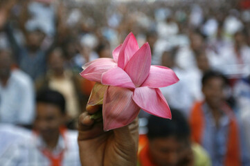 A supporter of India's main opposition BJP holds his party's lotus symbol during a felicitation ceremony in Ahmedabad