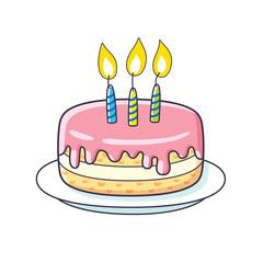 Birthday cake icon isolated.
