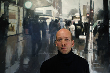 "Artist James Hart Dyke poses for a portrait alongside his painting ""Espionage"", in a gallery in central London"