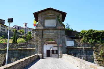 View of S. Lorenzo Gate also known Garibaldi Gate, Porta San Lorenzo conosciuta anche come Porta Garibaldi, Bergamo, Italy