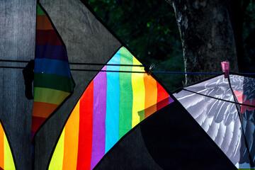 Street hawker selling Kites at Kites Park . Close up photo.