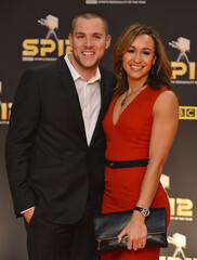 British heptathlete Ennis arrives for the Sports Personality of the Year 2012 awards ceremony in London
