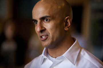 California Republican gubernatorial primary candidate Neel Kashkari talks to small business owners in the Scripps Ranch area of San Diego
