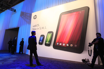 The poster showing all three new HP Palm devices is displayed following a media presentation at the Herbst Pavilion at the Fort Mason Center in San Francisco