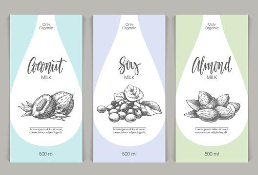 Vector set of templates packaging milk