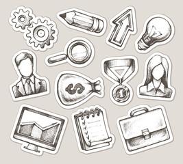 Set elegant hand drawn business stickers