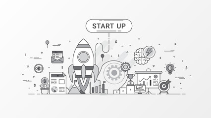 Startup company. Fast-growing business infographic. Horizontal composition template contains Rocket icons, Business planning, Target market, Startup investing, Success, Graph, brainstorm ideas.