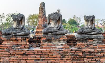 Buddha monument in ayutthaya history park.