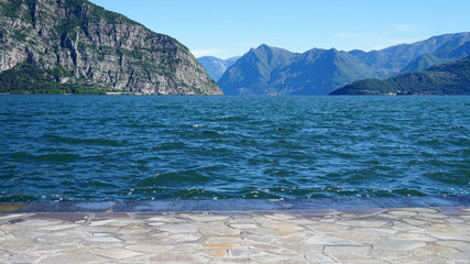 Spectacular view of Lake Iseo from Iseo town, Lombardy, Italy
