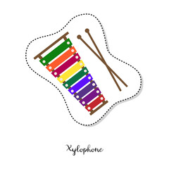 Cartoon sticker with xylophone on white background.