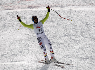 Neureuther of Germany reacts after competing in Super G portion of men's super combined race at Alpine Skiing World Cup in Bansko