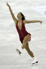 Lacoste of Canada performs during the women's free skating event at the ISU World Figure Skating Championships in Nice