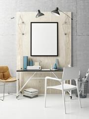 Creative office, hipster interior background, 3d illustration
