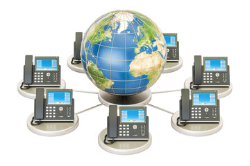 VoIP concept with Earth globe, global communication concept. 3D rendering