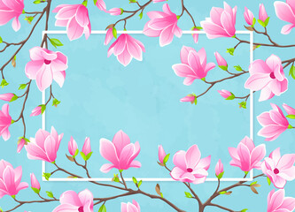 VECTOR eps 10. Magnolia flowers on the branch. White frame for text.