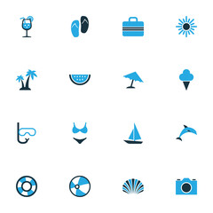 Hot Colorful Icons Set. Collection Of Ball, Ice Cream, Camera And Other Elements. Also Includes Symbols Such As Swimming, Palms, Tube.