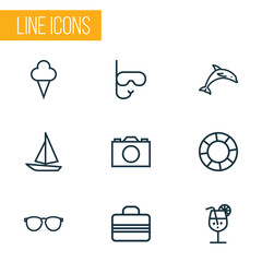 Hot Outline Icons Set. Collection Of Cocktail, Glasses, Baggage And Other Elements. Also Includes Symbols Such As Video, Sail, Camera.