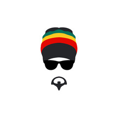 Man wearing rastafarian hat icon in flat style.