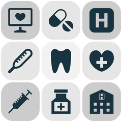 Drug Icons Set. Collection Of Hospital, Diagnosis, Drug And Other Elements. Also Includes Symbols Such As Drug, Pellets, Diagnostics.