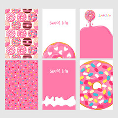 Set of bright food cards. Set of donuts with pink glaze. Donut seamless pattern, background, card, poster.  Donut's glaze pattern, background. Template for design.