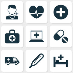 Medicine Icons Set. Collection Of Plus, First-Aid, Physician And Other Elements. Also Includes Symbols Such As Computer, Healthy, Database.