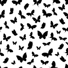 Black silhouettes of butterflies on a white background seamless pattern. Vector illustration