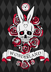 Wonderland poster. Skull white rabbit, red and white roses and ribbon with inscription Wonderland on the chess background. Vector illustration