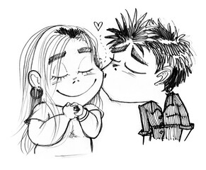 Boy kissing pretty girl cartoon