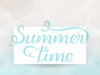 """Hand drawn lettering text """"Happy Summer Time"""""""