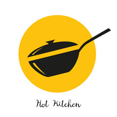 Wok frying pan icon on yellow background.