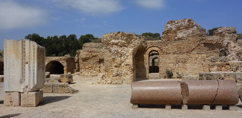 Beautiful scenery of the ruins of Carthage. Africa.