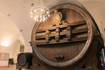 Huge Storage Beer Barrel Historical Ancient Impressive Indoor Castle
